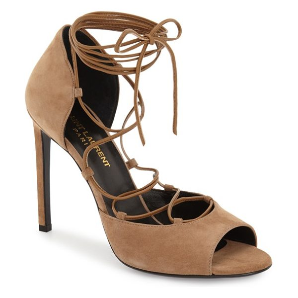 Saint Laurent kate lace-up sandal in brown suede