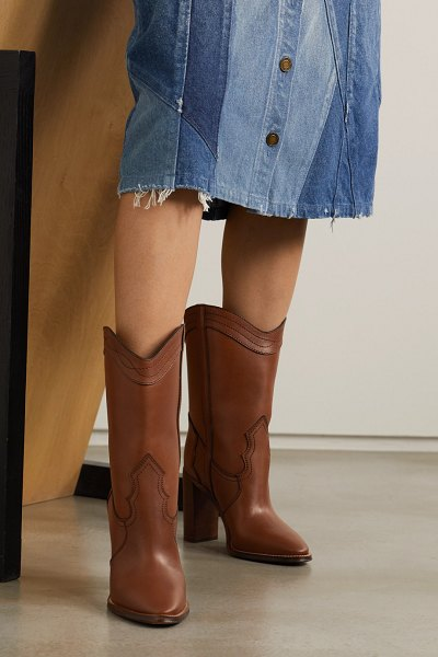 Saint Laurent kate leather ankle boots in tan