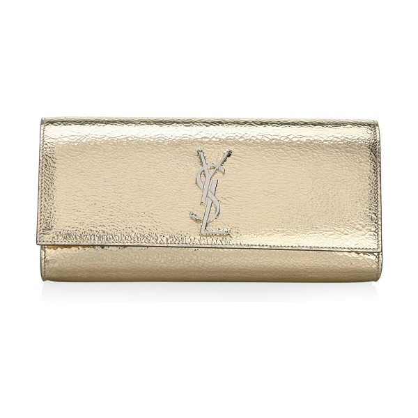 Saint Laurent kate leather clutch in nude - Leather clutch with designer logo accent. Flap with snap...