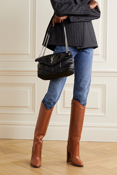 Saint Laurent kate leather knee boots in tan