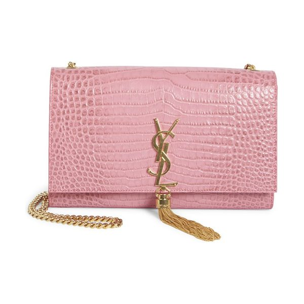 SAINT LAURENT Kate monogram croc-embossed leather tassel chain shoulder bag in indianrose - Luxe croc-embossed bag with golden YSL logo and tassel....