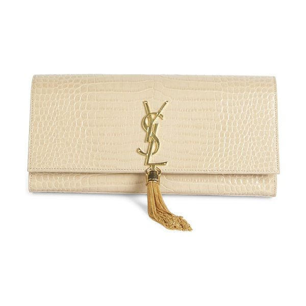 SAINT LAURENT kate monogram croc-embossed leather tassel clutch - Luxe croc-embossed tassel clutch with sleek finish....