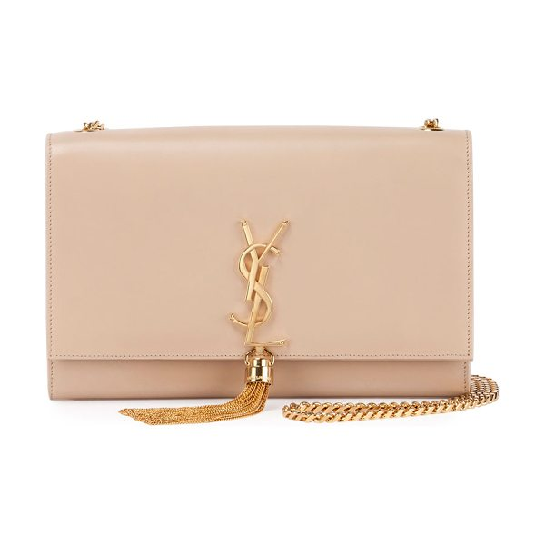 Saint Laurent Kate monogram medium leather tassel shoulder bag in nude - Saint Laurent calfskin shoulder bag with golden...