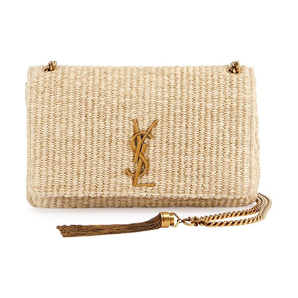 SAINT LAURENT Kate Monogram Medium Raffia Chain Shoulder Bag in neutral - Saint Laurent raffia shoulder bag with vintage golden...