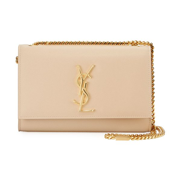 Saint Laurent Kate Monogram Small Grain Leather Crossbody Bag in beige - Saint Laurent grain leather crossbody bag. Golden...