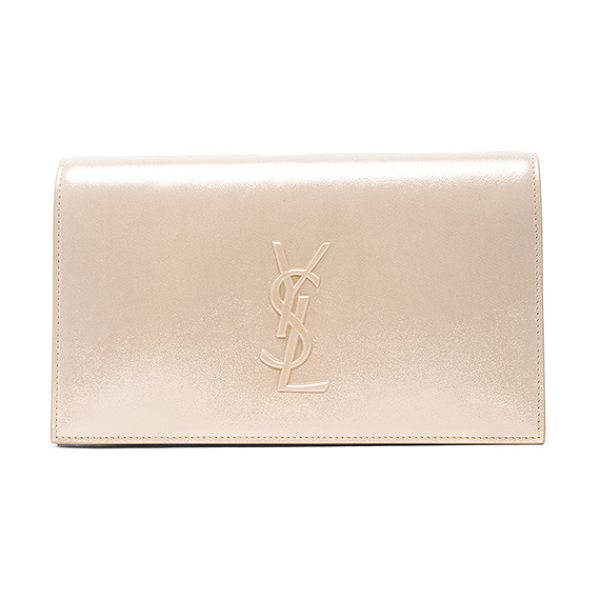 Saint Laurent Monogramme Kate Clutch in metallics - Sueded metallic fabric with grosgrain lining and...