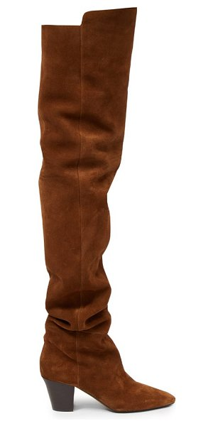 Saint Laurent sun point-toe over-the-knee suede boots in tan