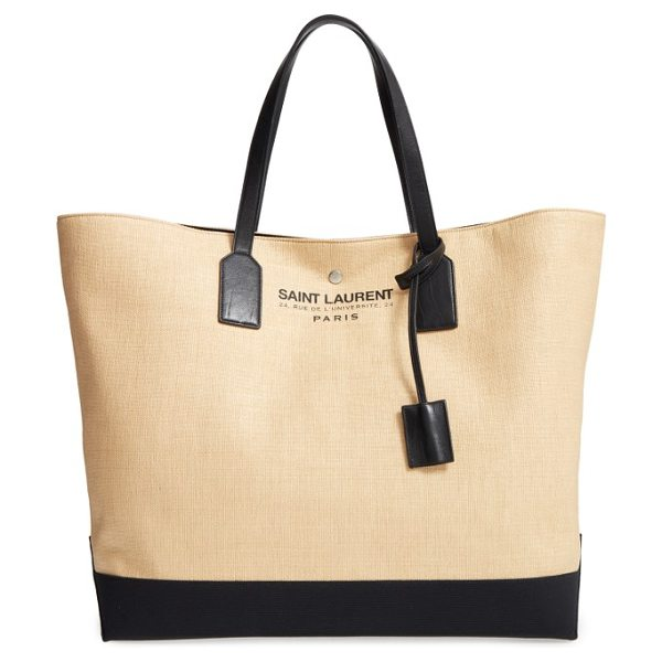 Saint Laurent large beach/shopping tote in natural/nero/nero - A roomy market tote like this two-tone canvas version...