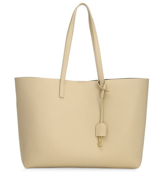 Saint Laurent large leather shopper tote in poudre - Crafted of soft, supple leather, this spacious shopper...