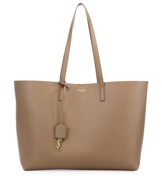Saint Laurent large leather shopper tote in mink - Crafted of soft, supple leather, this spacious shopper...