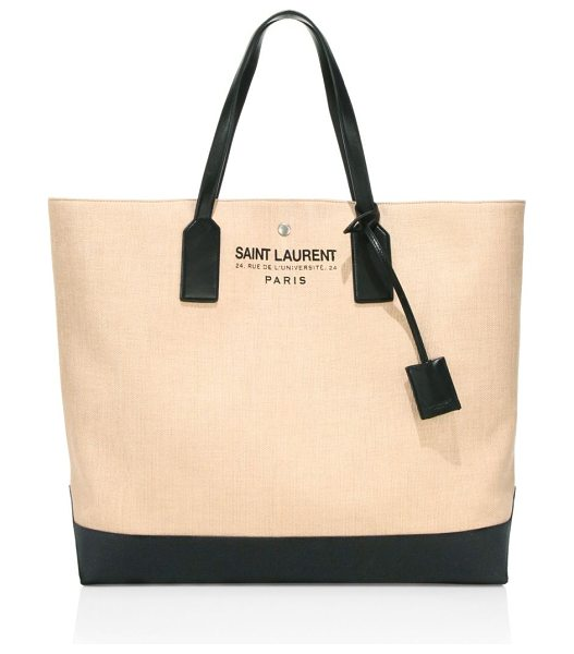 SAINT LAURENT large raffia beach tote in natural - Beachy raffia shopper tote with sleek leather trim....