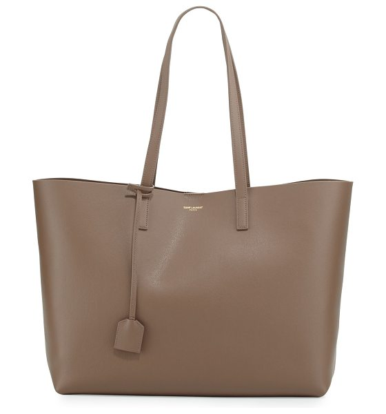 Saint Laurent East West Calfskin Shopping Tote Bag in taupe