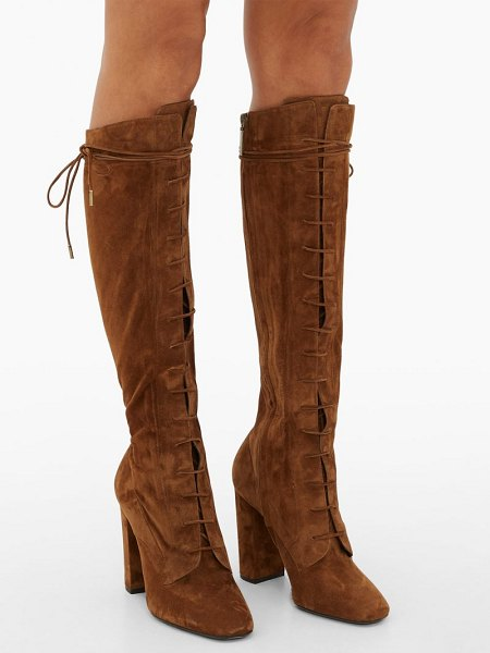Saint Laurent laura lace-up knee-high boots in tan