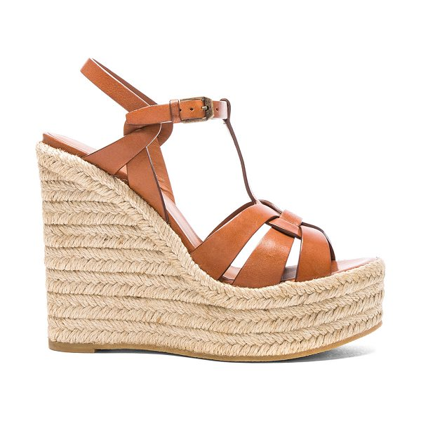 Saint Laurent Leather Espadrille Wedges in brown - Leather upper with rubber sole.  Made in Spain.  Approx...