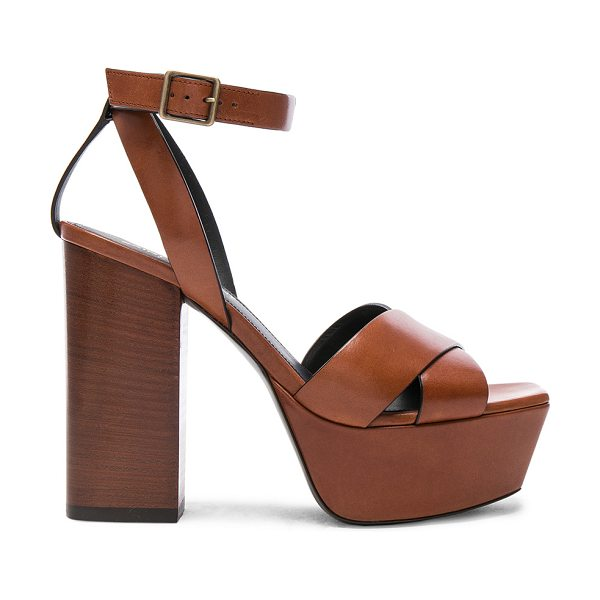 Saint Laurent Leather Farrah Cross Strap Platform Sandals in brown - Leather upper and sole.  Made in Italy.  Approx 40mm/...
