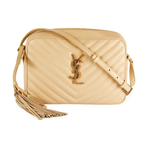 Saint Laurent Lou Medium Monogram YSL Calf Crossbody Bag in dark beige