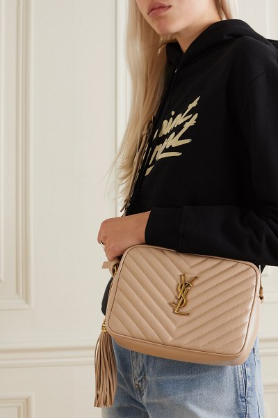 Saint Laurent lou medium quilted leather shoulder bag in beige