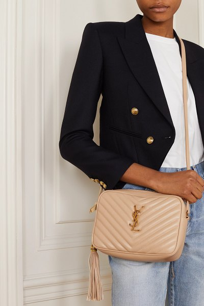 Saint Laurent lou medium quilted leather shoulder bag in cream