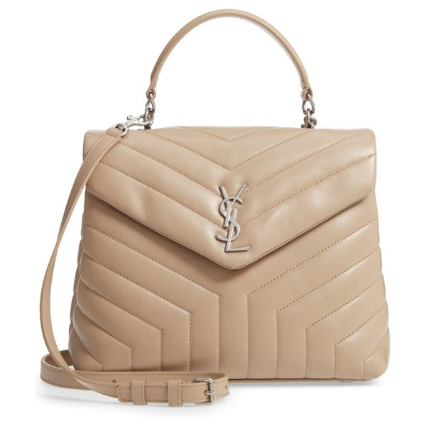 Saint Laurent loulou leather top handle satchel in dark beige/ dark beige - Matelasse quilting elevates the luxe aesthetic of a...