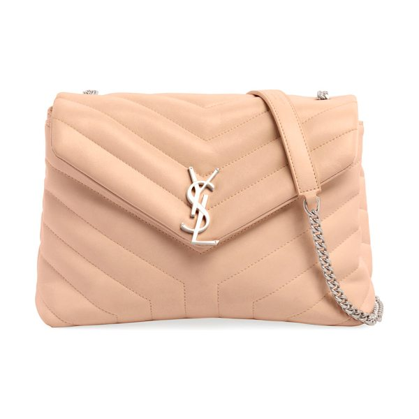 Saint Laurent Loulou Monogram YSL Small Chain Bag in light beige - Saint Laurent shoulder bag in chevron-quilted leather....