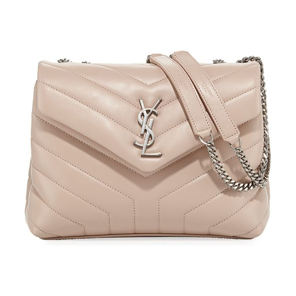 Saint Laurent Loulou Monogram Small Chain Bag in light pink - Saint Laurent shoulder bag in chevron-quilted leather....