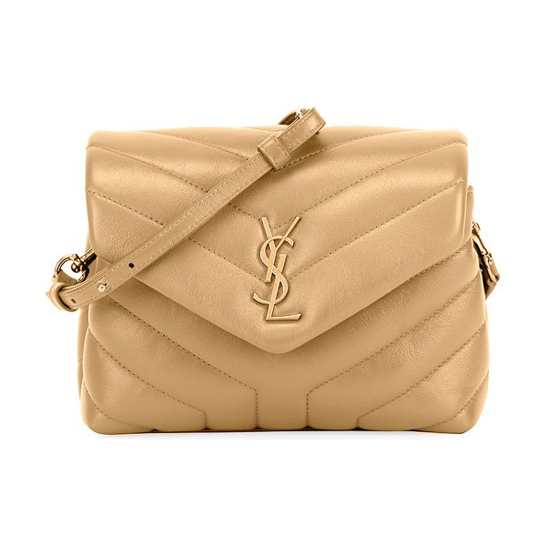 Saint Laurent Loulou Toy Matelasse Calfskin Envelope Crossbody Bag in nude