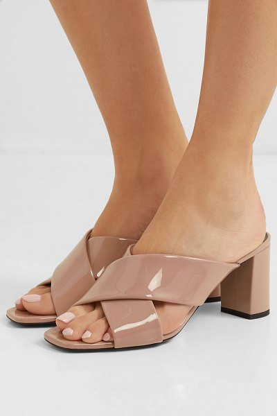 Saint Laurent loulou patent-leather mules in neutral - If you're looking for a pair of block-heel mules to see...