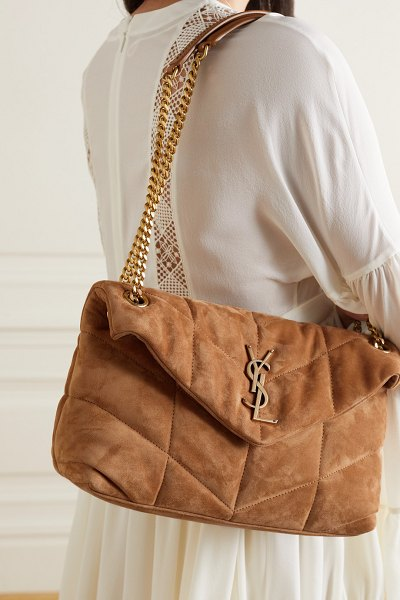 Saint Laurent loulou puffer small quilted suede shoulder bag in brown