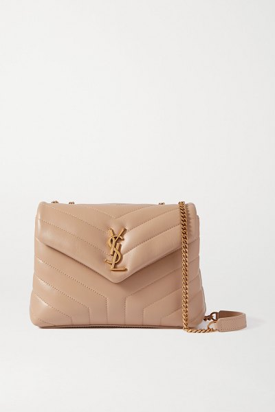 Saint Laurent loulou small quilted leather shoulder bag in neutrals