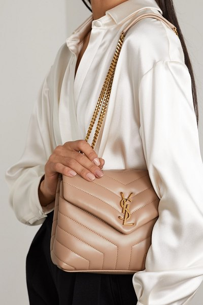 Saint Laurent loulou small quilted leather shoulder bag in beige
