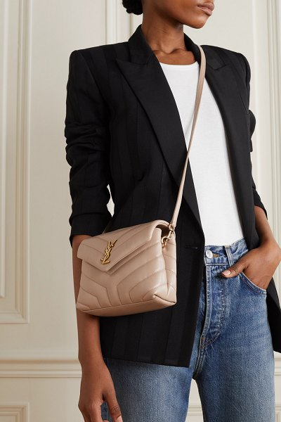 Saint Laurent loulou toy quilted leather shoulder bag in beige