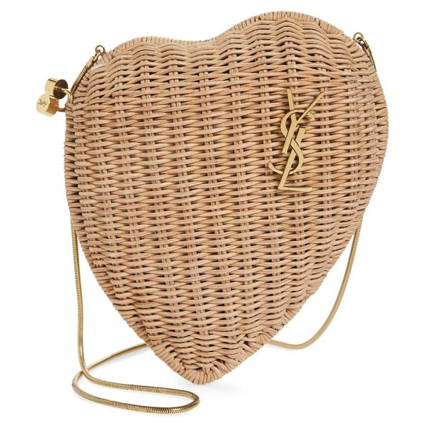 Saint Laurent love box crystal woven bamboo minaudiere in beige