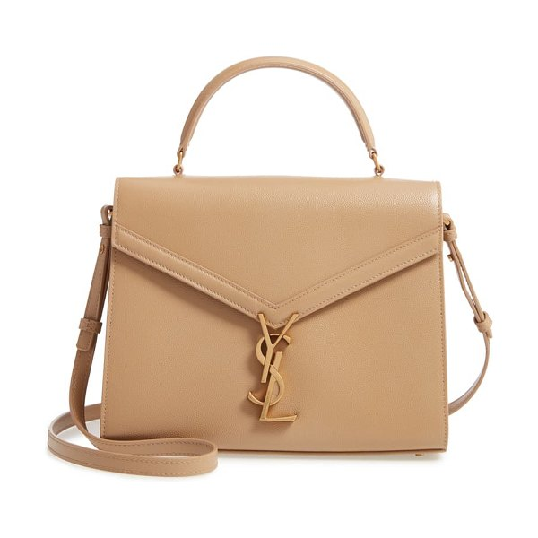 Saint Laurent medium cassandre calfskin leather top handle bag in beige