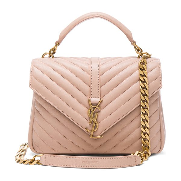Saint Laurent Medium Monogramme College Bag in nude rose - Quilted calfskin leather with leather lining and antique...