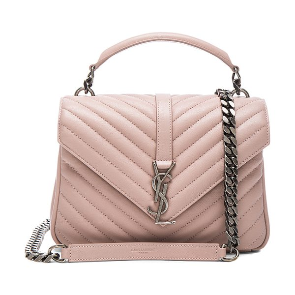 Saint Laurent Medium Monogramme College Bag in pink - Quilted calfskin leather with grosgrain lining and...