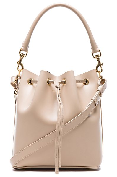 SAINT LAURENT Medium emmanuelle bucket bag in neutrals - Genuine leather with leather lining and gold-tone...