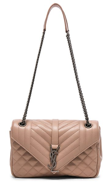 SAINT LAURENT Medium Envelope Chain Bag in nude pink - Quilted calfskin leather with grosgrain lining and...