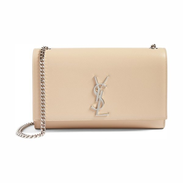 SAINT LAURENT medium kate calfskin leather shoulder bag in nude powder - A monogrammed insignia makes an iconic mark on a...