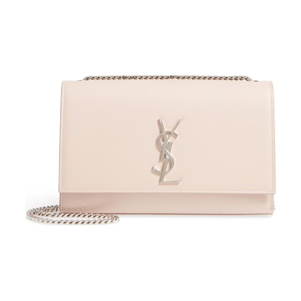 Saint Laurent medium kate calfskin leather shoulder bag in marble pink - A monogrammed insignia makes an iconic mark on a...
