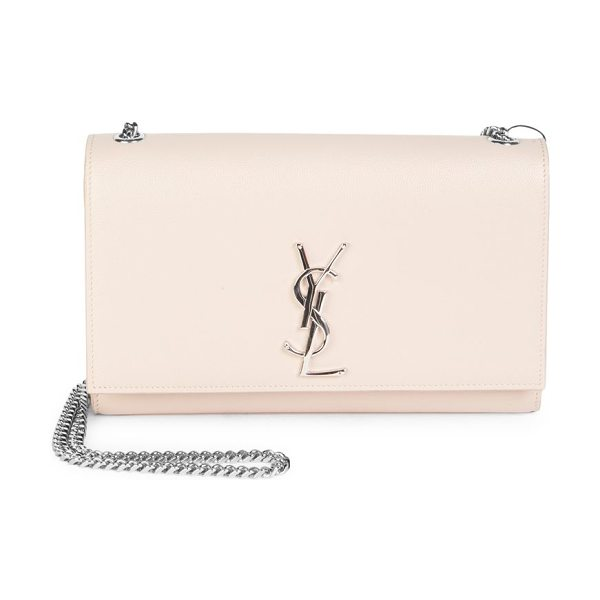 Saint Laurent medium kate grained leather chain shoulder bag in marblepink