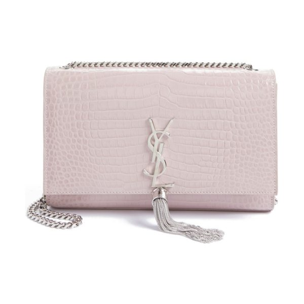 Saint Laurent medium kate tassel croc embossed calfskin leather crossbody bag in rose poudre - A fine chain-link tassel is gracefully suspended from...