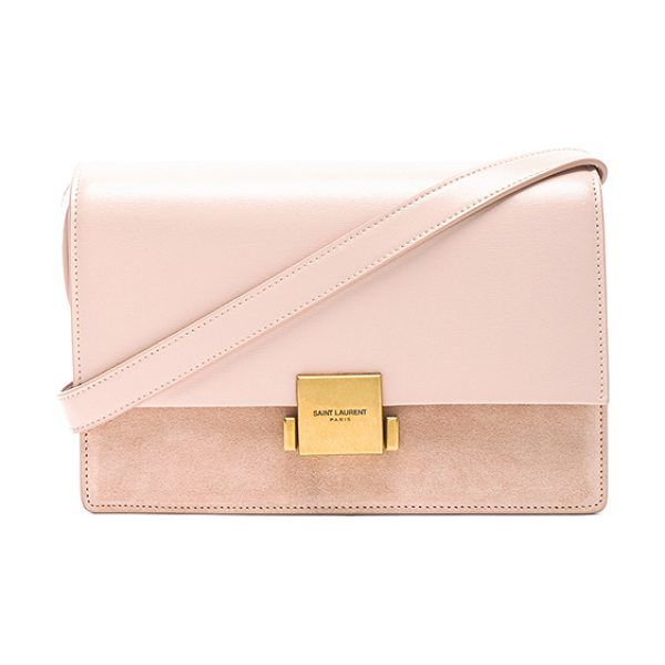 "SAINT LAURENT Medium Leather & Suede Bellechasse Satchel in pink - ""Calfskin leather with raw lining and brushed gold-tone..."
