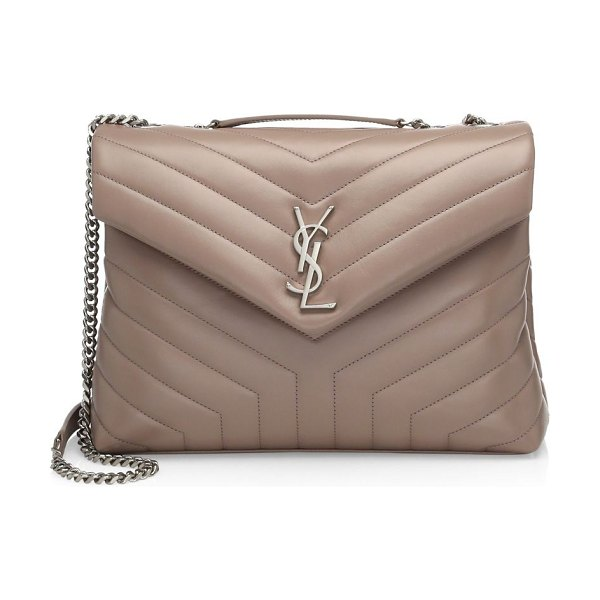 Saint Laurent medium lou lou chevron quilted leather crossbody bag in mink - Luxe quilted leather flap silhouette with chain strap....