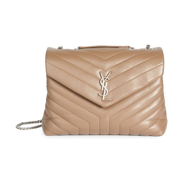 Saint Laurent medium lou lou leather chain flap shoulder bag in taupe - Luxe quilted leather flap silhouette with chain strap....