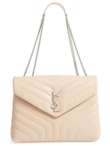Saint Laurent medium loulou calfskin leather shoulder bag in pink