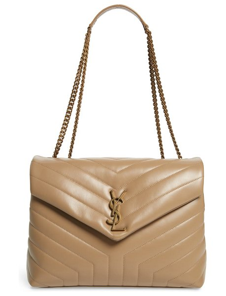 Saint Laurent medium loulou matelasse leather shoulder bag in beige