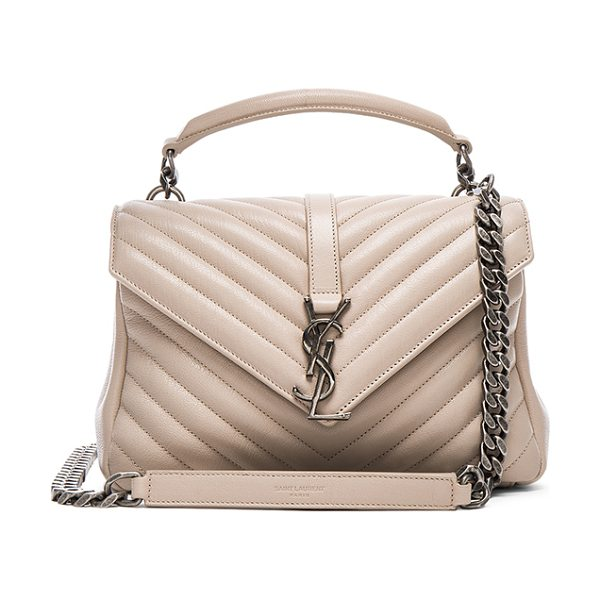 SAINT LAURENT Medium monogram college bag - Quilted calfskin leather with grosgrain lining and...