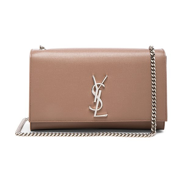 SAINT LAURENT Medium Monogramme Kate Chain Bag in neutrals - Pebbled calfskin leather with grosgrain lining and...