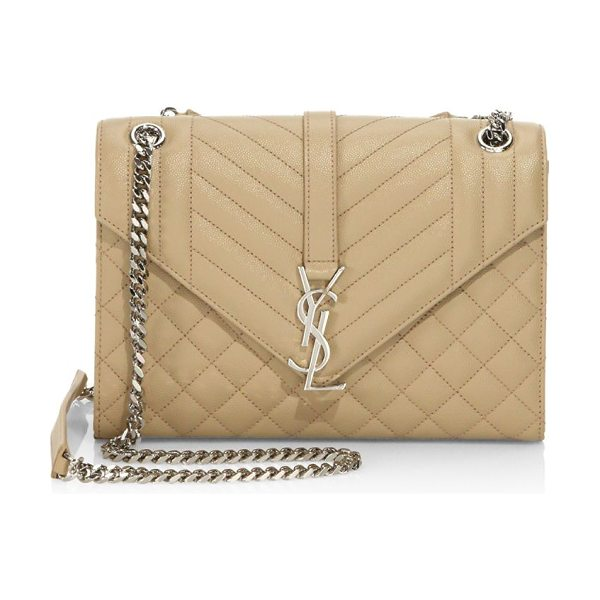 Saint Laurent medium monogram tri-quilted leather shoulder bag in darkbeige - Tri-quilted leather envelope silhouette with chain...