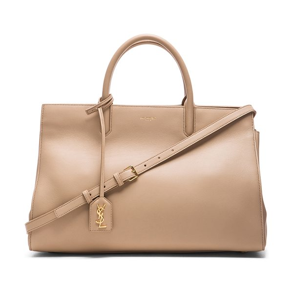 SAINT LAURENT Medium Monogram Cabas Bag - Calfskin leather with suede lining and gold-tone...